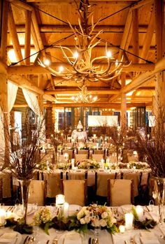 Rustic Beaver Creek Wedding at Beano's Cabin {Brinton Studios} Not advocating for the antler chandelier but the tables look lovely.