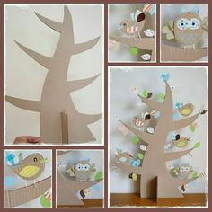 Tree with cardboard, fabrics, kraft paper and a lot of creativity - Home Page Kids Crafts, Easter Crafts, Diy And Crafts, Cardboard Box Fort, Cardboard Crafts, Owl Centerpieces, Owl Parties, Spring Crafts, Elementary Art