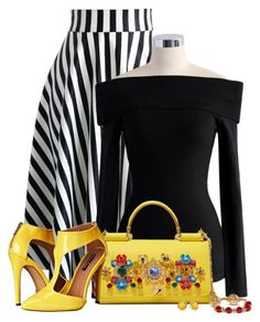 """""""Contrast"""" by barbarapoole ❤ liked on Polyvore featuring Chicwish, Dolce&Gabbana, Michael Antonio and Kate Spade"""