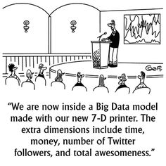 "KDnuggets Cartoon: Big Data Visualization and 7-D Printer - Speaker: ""We are now inside a Big Data model made with our new 7-D printer. The extra dimensions include time, money, number of Twitter followers, and total awesomeness."""