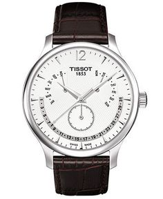 Tissot Watch, Men's Swiss Tradition Perpetual Calendar Brown Leather Strap T0636371603700 - Men's Watches - Jewelry & Watches - Macy's $450