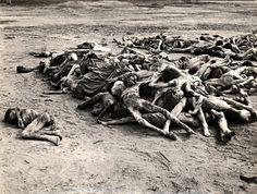 Bergen Belsen, Germany, 1945, A pile of female bodies.