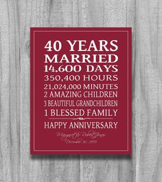 Anniversary Gift for Parents Personalized Canvas Print 40 Year Anniversary . - Anniversary Gift for Parents Personalized Canvas Print 40 Year Anniversary … - Wedding Anniversary Quotes, Ruby Anniversary, Parents Anniversary, Anniversary Gifts For Parents, Personalized Anniversary Gifts, Anniversary Parties, 40th Wedding Anniversary Gift Ideas, Personalized Wedding, Wedding Gifts