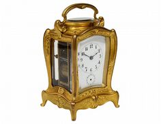 Fine gilt bronze carriage clock, France 20th Cent.