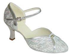 Exclusive Dance Shoes Damen Tanzschuhe , silber-weiß, 62mm Absatz