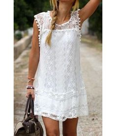 Simple Scoop Collar Sleeveless Spliced Solid Color See-Through Dress For Women