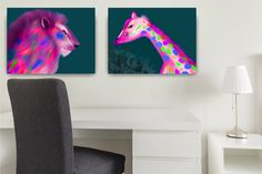 ID95 Colouful animal wall art. Large or small lion and giraffe print set. Vibrant digital download kids room decor.  Instant download gift. by ElcoStudio on Etsy