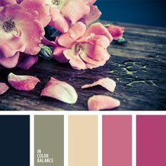 azul muy oscuro y rosado, azul turquí, casi negro, color fucsia, color rosa de té, color uniforme marino, colores para una boda, combinación de colores, elección del color, gama de colores para boda, gris verdoso, paleta de colores para una boda, rosado pálido, tonos rosados.