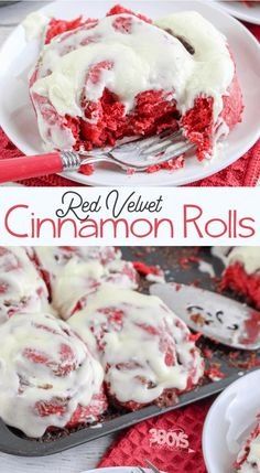 Red Velvet Cake Mix Cinnamon Rolls - 3 Boys and a Dog - Gateau No Bake Desserts, Just Desserts, Delicious Desserts, Yummy Food, Baking Desserts, Healthy Desserts, Cake Mix Recipes, Baking Recipes, All Food Recipes