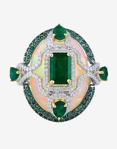 Emerald, Opal and Diamond Ring by Minawala