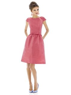 Cocktail length dupioni bateau neck dress w/ cap sleeves and matching belt w/ bow trim at natural waist. Full shirred skirt has pockets at side seams.  Dress available full length as style. D569.  Sizes available: 00-30W, and 00-30W extra length.   http://www.dessy.com/dresses/bridesmaid/D568/