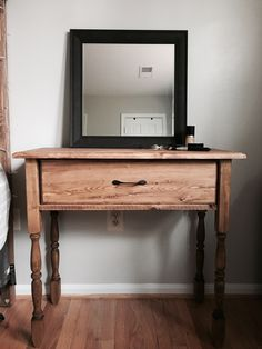 Makeup vanity so I don't have to share the space in the bathroom! Love it ! Built by TreeWorks design  TreeWorksdesign.com