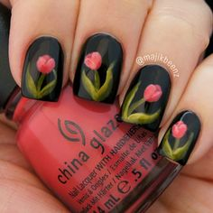"""Nails - Floral nailart using OPI """"Black Onyx"""", China Glaze """"Passion for Petals"""" and """"Budding Romance"""", Julep """"Alicia"""", and Lime Crime """"Crema de Limon"""" --- Instagram @Majikbeenz (Nicole)"""