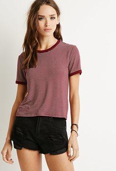 Camiseta Micro-Rayas - Partes de arriba - 2000158318 - Forever 21 EU