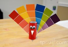 Thanksgiving Turkey  craft. Toliet Paper roll and Paint Chips. Kid Craft
