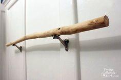 pretty handy girl | tree branch towel hanger