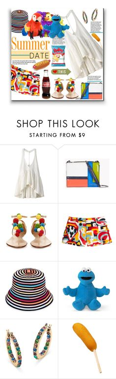 """Summer Date"" by fassionista ❤ liked on Polyvore featuring One Teaspoon, Dsquared2, Aquazzura, Sun N' Sand, Palm Beach Jewelry, ruffles, statefair and summerdate"