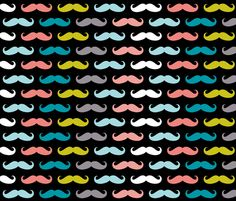 colorful moustaches on black fabric by katarina on Spoonflower - custom fabric