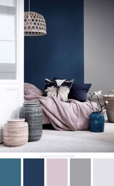 Apartment Color Schemes, Living Room Color Schemes, Blue Color Schemes, Living Room Colors, Living Room Grey, Bedroom Colors, Home Decor Bedroom, Living Room Decor, Bedroom Ideas
