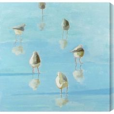 "Gallery Direct 'Birds By The Waters Edge II' by Phyllis Adams Painting Print on Wrapped Canvas Size: 18"" H x 18"" W"