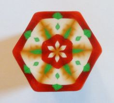 LARGE Maroon Green Gold and Cream Hexagon Polymer by ClaybyKerm, $10.00