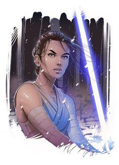 Galaxy Fantasy: Fantásticas ilustraciones de Rey de Star Wars con un sable de luz en mano