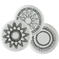 MercerSaladPlatesS13: These could be good layered with my striped plates, but also might not be enough going on, since they don't have a lot of color. $8 each