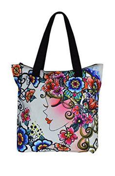 Bolso de mano de lona con diseño ilustracion mujer y flores