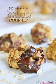No-Bake Peanut Butter Chocolate Chunk Cookies | FiveHeartHome.com for OneSheTwoShe.com - the perfect summer cookie!