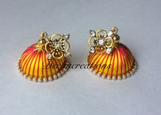 Silk Thread Earrings Designs, Silk Thread Jhumkas, Beaded Necklace Patterns, Silk Thread Bangles, Thread Jewellery, Jewelry Patterns, Quilling Jewelry, Thread Art, Craft Accessories