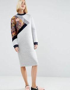 Трикотажное платье миди с цветочной вставкой ASOS WHITE
