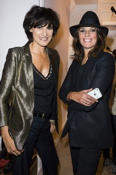 Ines de la Fressange and Anastasia Barbieri from Vogue Paris at Vogue Paris  Fashion Night Out 2013 live show. 964f35cf82