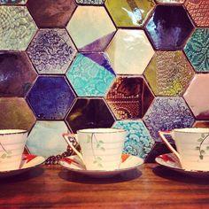 """#tile #tiles #bespoke #splashback #hex #hexagonal #lifestyle #wall #tiled #hexalove #kitchen #cafe #coffeeshop #handmade #stoneware #handmadetiles…"""