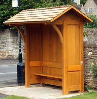 Newstead wooden bus shelter but basic construction would work for a garden building.