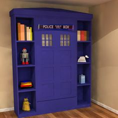Bespoke made to measure unique children's bedroom furniture manufacturers. Police box bed, great for dr who fans www.bdichildrensfurniture.co.uk