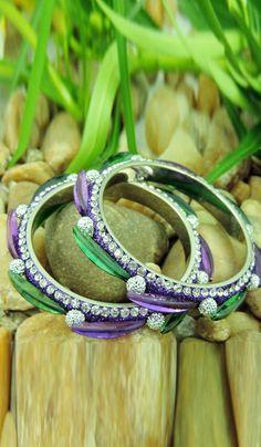 #StoneJewellery - Purple & Green Stone Studded Bangles Costs Rs. 538. BUY it here: http://www.artisangilt.com/imitation-jewellery-fashion-jewelry/bangles-bracelets/purple-green-stone-studded-bangles-106649.html?ref=pin