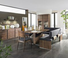 Modern Walnut Dining Table With Bench Granite Tile Floor