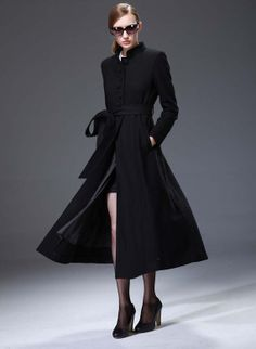 Calvin Klein Coat Womens Wool Black Long Ruche Collar Trench