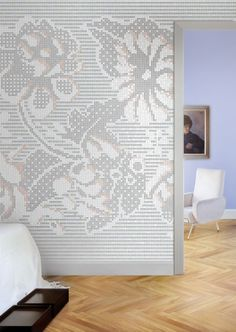 "Lace flowers from ""Decor"" by Mosaico+. Premiered at #Cersaie 2012. I would wear it, wouldn't you? #mosaic #tile #design #patterns #textile #colors #fashion"