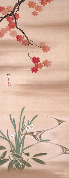Sakai HOITSU 1761–1828 Triptych of Flowers and Rising Sun after 1824 Hanging scroll(s), ink and color on silk 104.4 x 40.9 each cm Rinpa School 琳派 1977.1