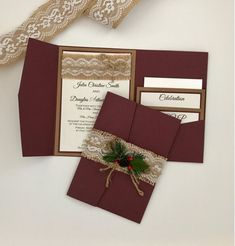 Wow!!! Definitely a breath taking invitation!!! Rustic burgundy pocket folder with three layers kraft, burgundy and ivory linen paper. The wording is printed on a black color and can be customized to your information. On the top a matching burlap with delicate white lace and a jute bow.