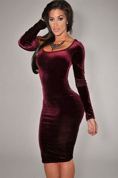 Flatter the figure! Soft velvet and a second-skin fit give this midi dress a seductively stylish look for the season. You're sexy with the round neck with beautiful bust shape, kiss to skin velvet fab