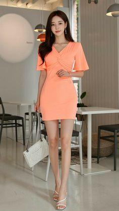 Girls Fashion Clothes, Girl Fashion, Fashion Dresses, Dress For Short Women, Short Dresses, South Korea Fashion, Korean Casual Outfits, Korean Fashion Dress, Asian Model Girl