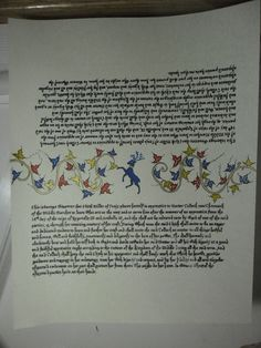 SCA scroll--apprenticeship scroll for my daughter. The design in the middle is meant to be cut and is the way to ensure that the two sides of the contract have not been altered.