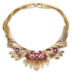 Its hard to believe that this is costume jewelry!!! Bucher Necklace, USA,1950's: gold-toned necklace with ruby and diamante rhinestones.:
