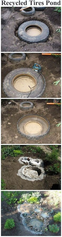 Recycled Tires Pond outdoors diy pond craft crafts do it yourself diy projects how to garden ideas tutorials backyards