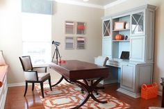 Secretary Desk with Hutch Home Office Contemporary with Arabesque Rug Blue and Orange Blue Cabinet