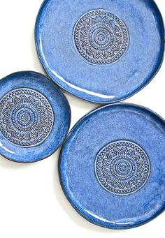 Handmade Aztec Blue Ceramic Plates | MalenkaDesign on Etsy