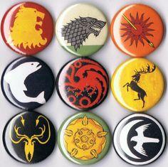 set of 9 Game of Thrones pins buttons badges house stark lannister targaryen