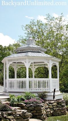 12' Octagon Colonial Style Vinyl Gazebo with Pagoda Roof, Cupola, and Rubber Slate http://www.backyardunlimited.com/gazebos.php